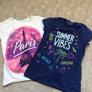2/$𝟏𝟓 Two Short Sleeves Tees for Girl Sz M 7/8